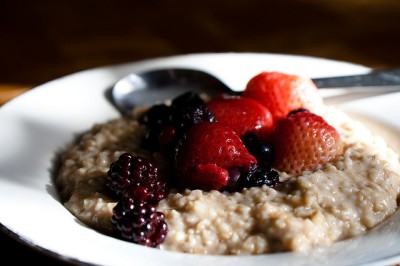 One of favorite breakfasts is oatmeal with warm berries.